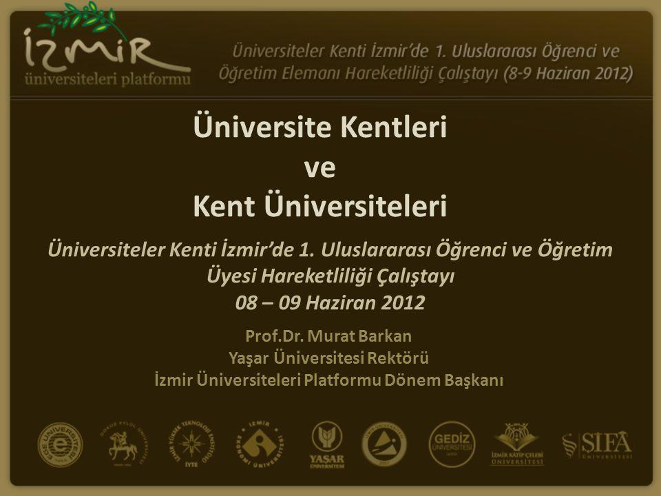 Üniversite Kentleri ve Kent Üniversiteleri Prof.Dr. Murat Barkan Yaşar Üniversitesi Rektörü İzmir Üniversiteleri Platformu Dönem Başkanı Üniversiteler