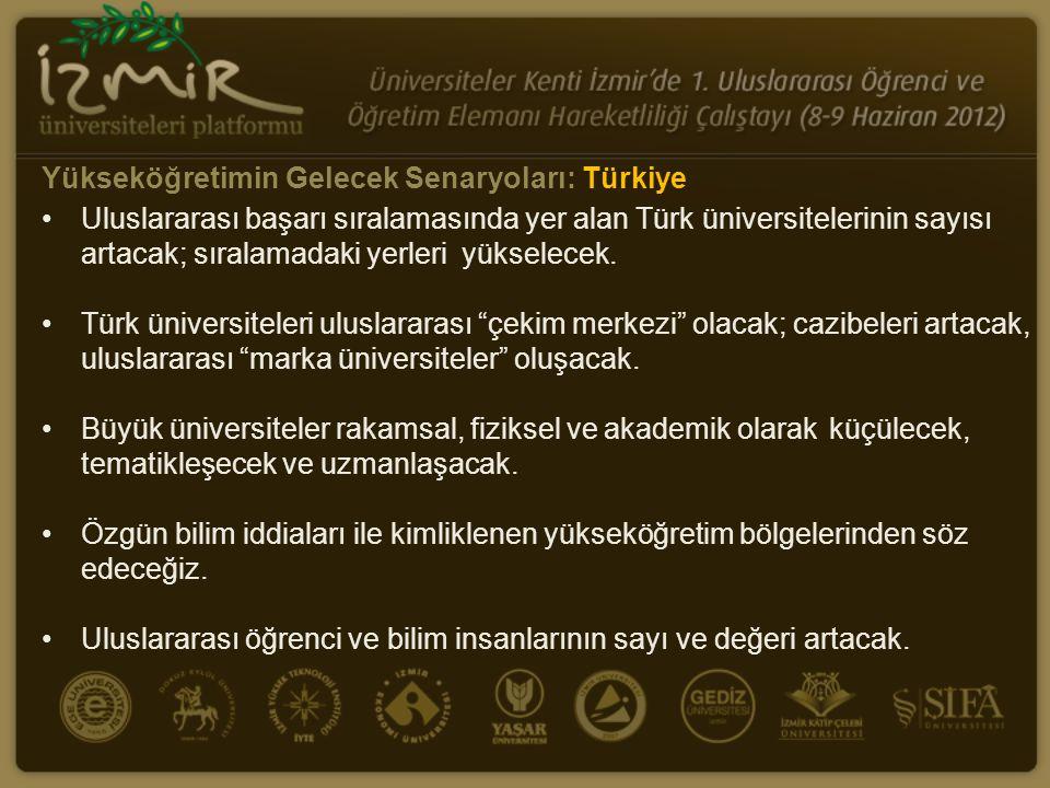 •Uluslararası başarı sıralamasında yer alan Türk üniversitelerinin sayısı artacak; sıralamadaki yerleri yükselecek. •Türk üniversiteleri uluslararası