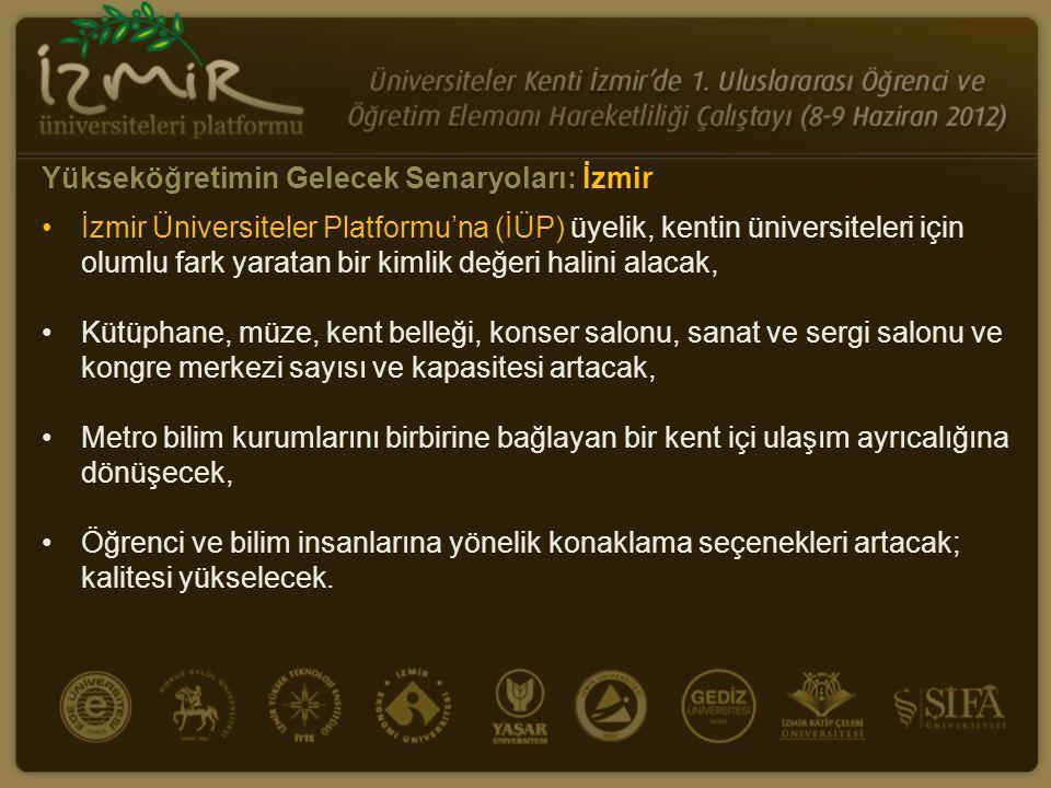•İzmir Üniversiteler Platformu'na (İÜP) üyelik, kentin üniversiteleri için olumlu fark yaratan bir kimlik değeri halini alacak, •Kütüphane, müze, kent