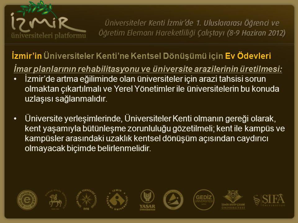 İmar planlarının rehabilitasyonu ve üniversite arazilerinin üretilmesi: •İzmir'de artma eğiliminde olan üniversiteler için arazi tahsisi sorun olmakta