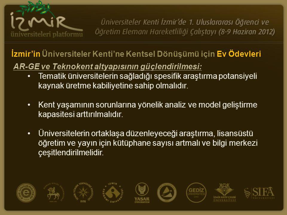 AR-GE ve Teknokent altyapısının güçlendirilmesi: •Tematik üniversitelerin sağladığı spesifik araştırma potansiyeli kaynak üretme kabiliyetine sahip ol