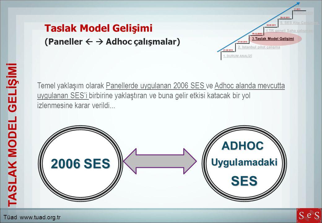 20 Taslak Model Gelişimi (Paneller   Adhoc çalışmalar) Temel yaklaşım olarak Panellerde uygulanan 2006 SES ve Adhoc alanda mevcutta uygulanan SES'i