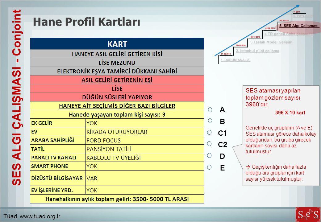 30 Hane Profil Kartları SES ALGI ÇALIŞMASI - Conjoint A B C1 C2 D E SES ataması yapılan toplam gözlem sayısı 3960'dır.