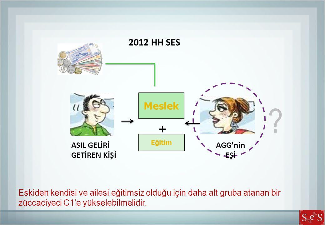 2012 HH SES Eskiden kendisi ve ailesi eğitimsiz olduğu için daha alt gruba atanan bir züccaciyeci C1'e yükselebilmelidir.