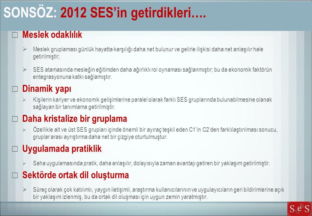 SONSÖZ: 2012 SES'in getirdikleri….  Meslek odaklılık  Meslek gruplaması günlük hayatta karşılığı daha net bulunur ve gelirle ilişkisi daha net anlaş
