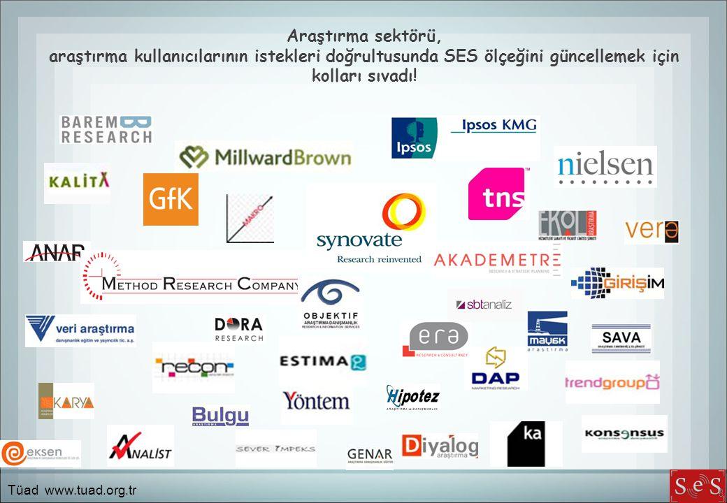 Araştırma sektörü, araştırma kullanıcılarının istekleri doğrultusunda SES ölçeğini güncellemek için kolları sıvadı! 8 Tüad www.tuad.org.tr