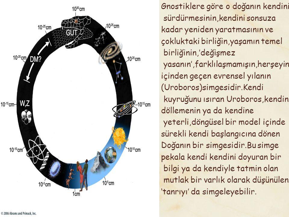 Ortadaki Yunanca yazı:Bir Bütündür/ Herşeydir.(Hen to pan) Kendi kuyruğunu ısıran yılanın koyu renkteki üst yarısı yeri ve geceyi açık renkteki yarısı göğü ve ışığı temsil etmektedir.