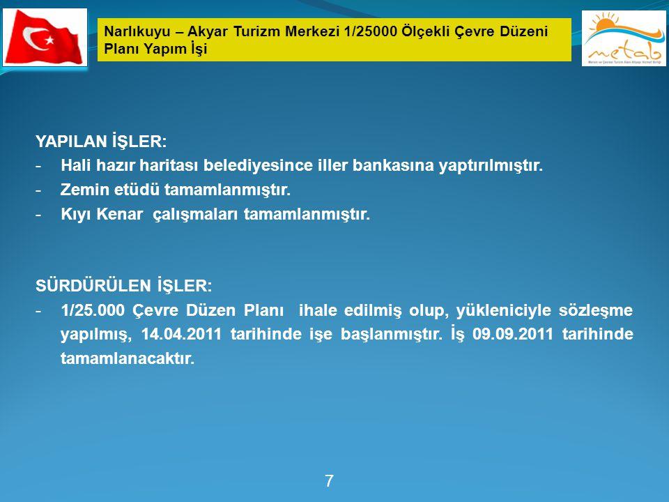 Narlıkuyu – Akyar Turizm Merkezi 1/25000 Ölçekli Çevre Düzeni Planı Yapım İşi 7 YAPILAN İŞLER: -Hali hazır haritası belediyesince iller bankasına yapt