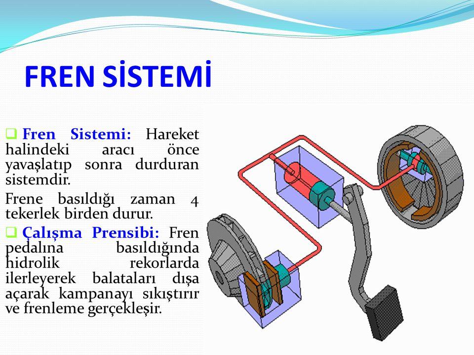 FREN SİSTEMİ  Fren Sistemi: Hareket halindeki aracı önce yavaşlatıp sonra durduran sistemdir.
