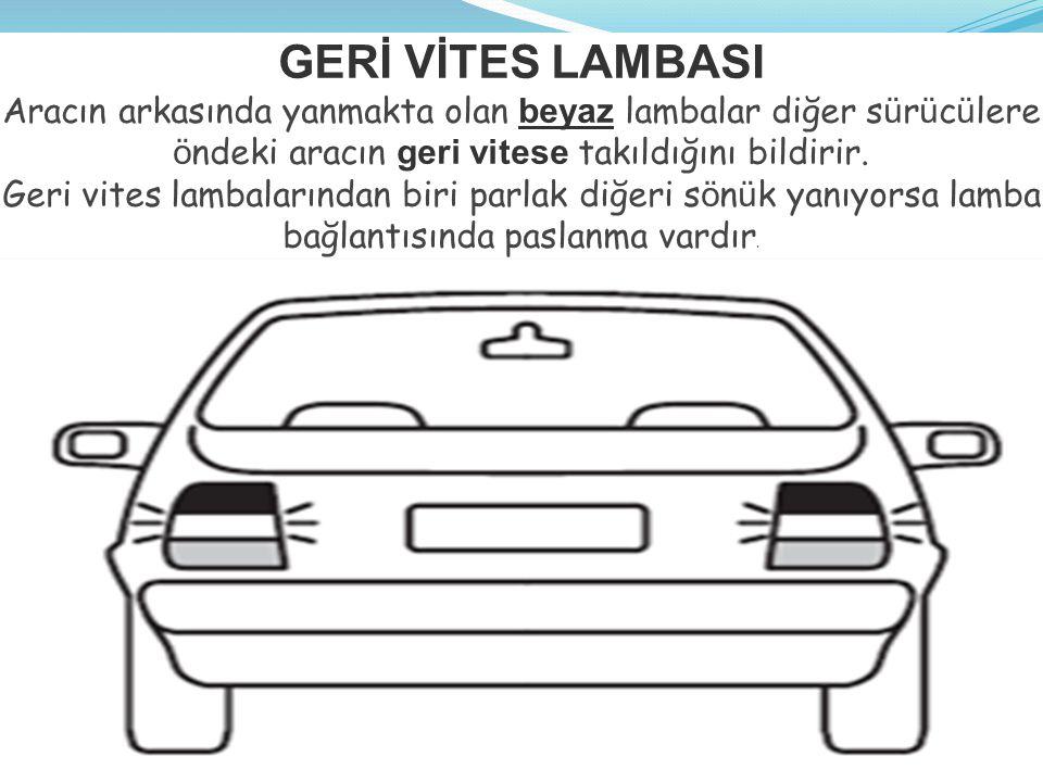 GERİ VİTES LAMBASI Aracın arkasında yanmakta olan beyaz lambalar diğer s ü r ü c ü lere ö ndeki aracın geri vitese takıldığını bildirir.