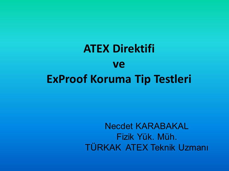 ATEX Direktifi Standartlarına Göre Yapılan Testler Patlatma Laboratuvarı Mekanik Darbeye Dayanıklılık Testi Aparatı TS EN IEC 60079-0: 2011 Standardına Göre Yapılan Testler Madde 26.4.2 Mekanik Darbeye Dayanıklılık Testi Donanım grubuna uygun enerji değerlerini sağlayacak şekilde çelik bilyeli uçlu ağırlık belirli bir yükseklikten düşürülerek yapılır h(metre) = E /(10 joule) Darbe testi genellikle  Cihaz muhafazasına  Kablo girişlerine  En zayıf görünen üç ayrı noktaya uygulanır.