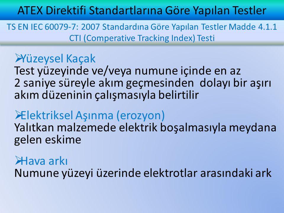 ATEX Direktifi Standartlarına Göre Yapılan Testler  Yüzeysel Kaçak Test yüzeyinde ve/veya numune içinde en az 2 saniye süreyle akım geçmesinden dolayı bir aşırı akım düzeninin çalışmasıyla belirtilir  Elektriksel Aşınma (erozyon) Yalıtkan malzemede elektrik boşalmasıyla meydana gelen eskime  Hava arkı Numune yüzeyi üzerinde elektrotlar arasındaki ark TS EN IEC 60079-7: 2007 Standardına Göre Yapılan Testler Madde 4.1.1 CTI (Comperative Tracking Index) Testi