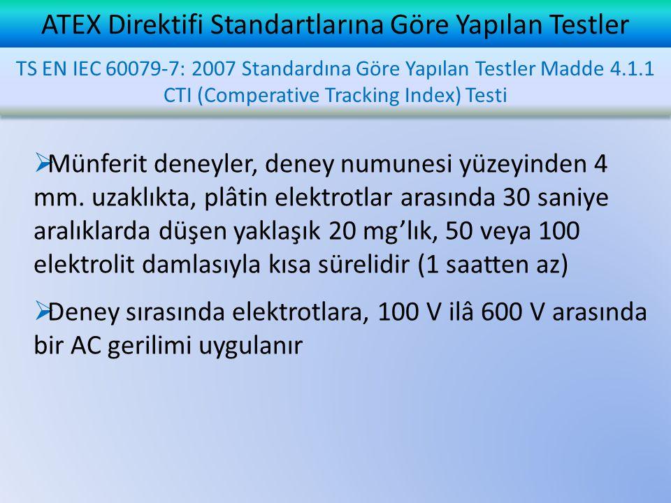 ATEX Direktifi Standartlarına Göre Yapılan Testler  Münferit deneyler, deney numunesi yüzeyinden 4 mm. uzaklıkta, plâtin elektrotlar arasında 30 sani