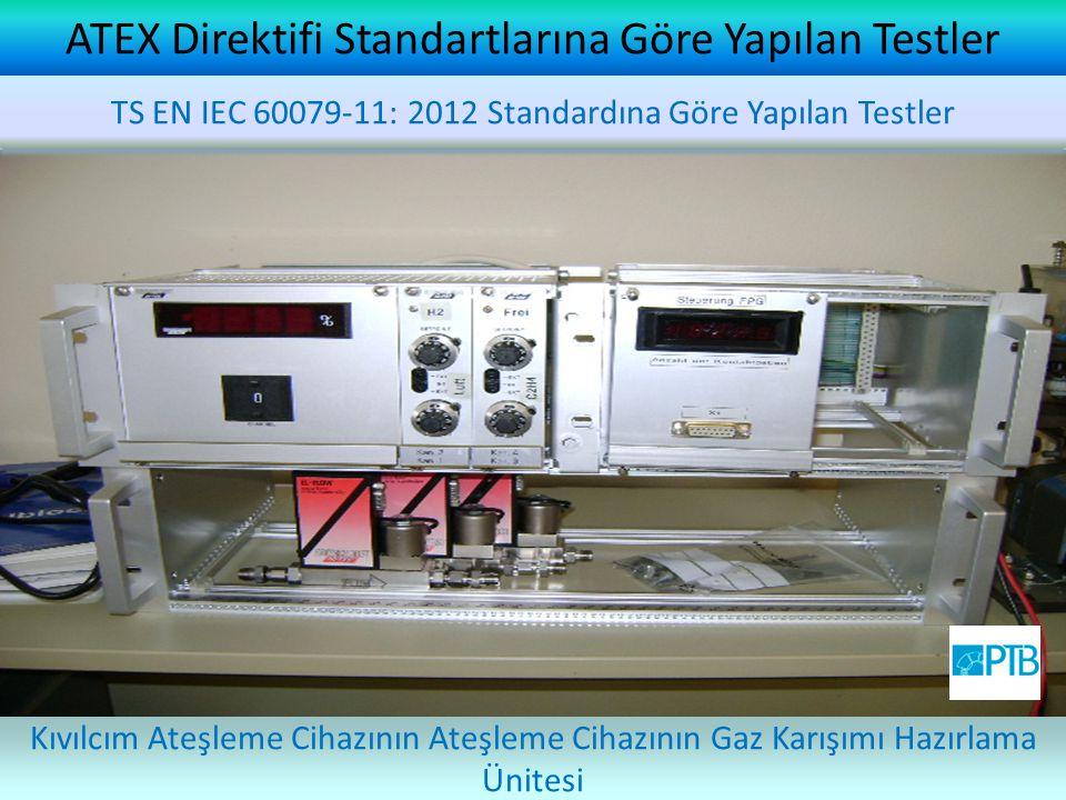 ATEX Direktifi Standartlarına Göre Yapılan Testler Kıvılcım Ateşleme Cihazının Ateşleme Cihazının Gaz Karışımı Hazırlama Ünitesi TS EN IEC 60079-11: 2012 Standardına Göre Yapılan Testler