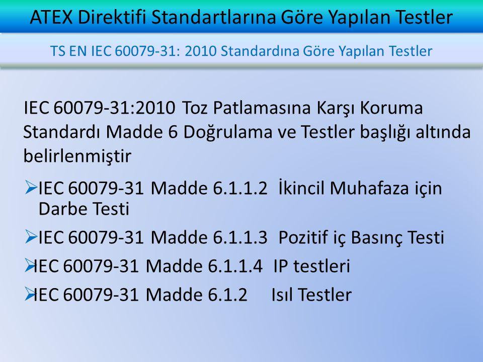 IEC 60079-31:2010 Toz Patlamasına Karşı Koruma Standardı Madde 6 Doğrulama ve Testler başlığı altında belirlenmiştir  IEC 60079-31 Madde 6.1.1.2 İkincil Muhafaza için Darbe Testi  IEC 60079-31 Madde 6.1.1.3 Pozitif iç Basınç Testi  IEC 60079-31 Madde 6.1.1.4 IP testleri  IEC 60079-31 Madde 6.1.2 Isıl Testler ATEX Direktifi Standartlarına Göre Yapılan Testler TS EN IEC 60079-31: 2010 Standardına Göre Yapılan Testler