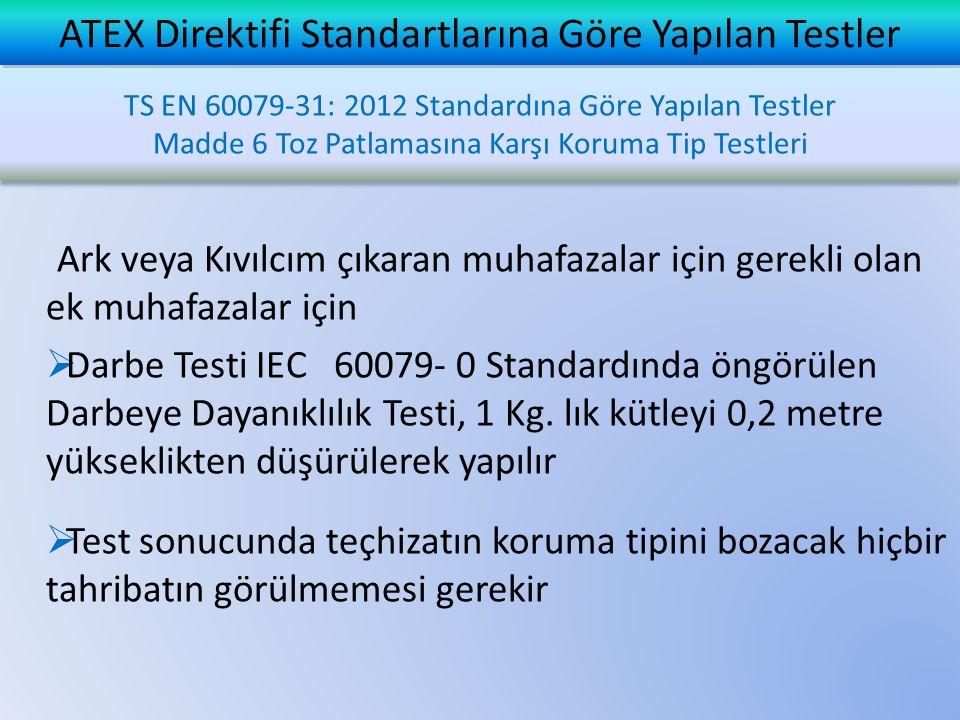 Ark veya Kıvılcım çıkaran muhafazalar için gerekli olan ek muhafazalar için  Darbe Testi IEC 60079- 0 Standardında öngörülen Darbeye Dayanıklılık Testi, 1 Kg.