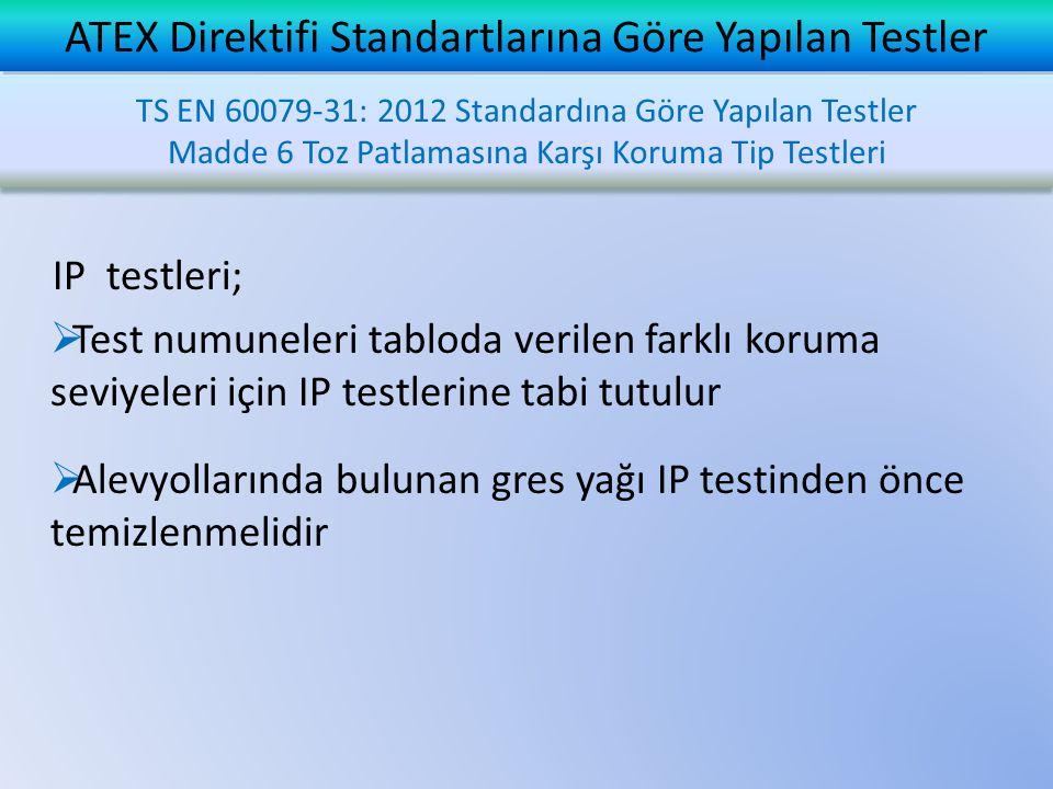 ATEX Direktifi Standartlarına Göre Yapılan Testler IP testleri;  Test numuneleri tabloda verilen farklı koruma seviyeleri için IP testlerine tabi tutulur  Alevyollarında bulunan gres yağı IP testinden önce temizlenmelidir TS EN 60079-31: 2012 Standardına Göre Yapılan Testler Madde 6 Toz Patlamasına Karşı Koruma Tip Testleri TS EN 60079-31: 2012 Standardına Göre Yapılan Testler Madde 6 Toz Patlamasına Karşı Koruma Tip Testleri