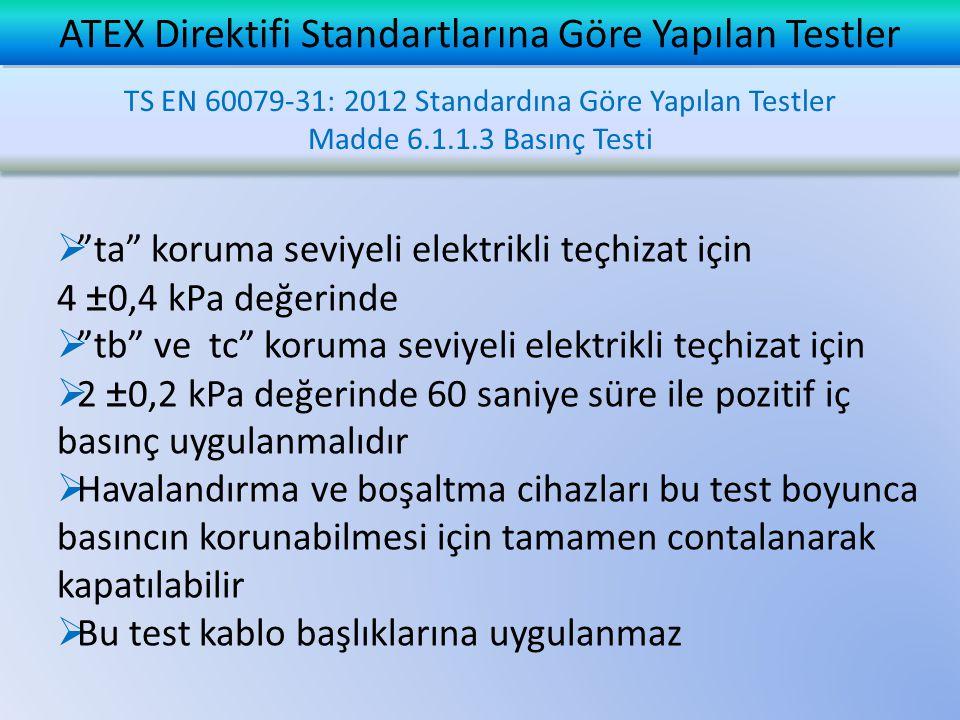 """ """"ta"""" koruma seviyeli elektrikli teçhizat için 4 ±0,4 kPa değerinde  """"tb"""" ve tc"""" koruma seviyeli elektrikli teçhizat için  2 ±0,2 kPa değerinde 60"""