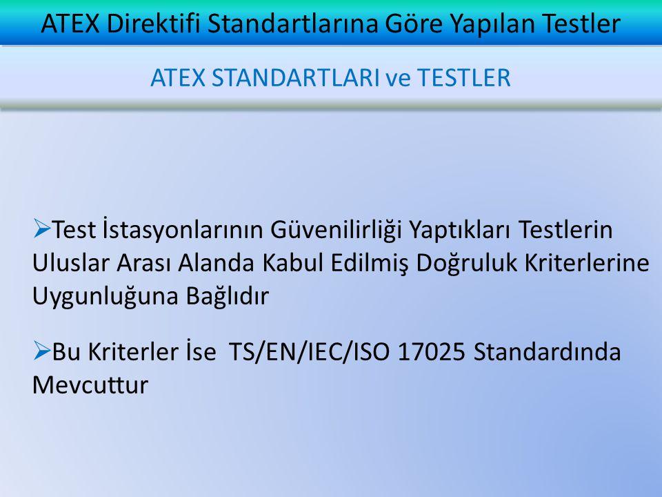  Test İstasyonlarının Güvenilirliği Yaptıkları Testlerin Uluslar Arası Alanda Kabul Edilmiş Doğruluk Kriterlerine Uygunluğuna Bağlıdır  Bu Kriterler
