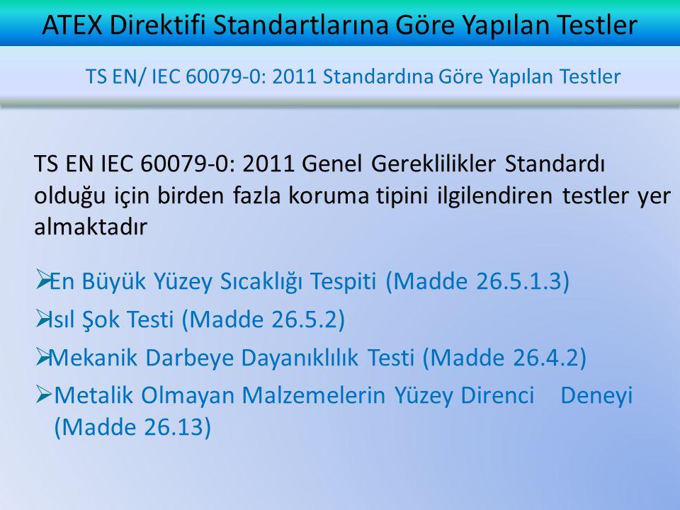ATEX Direktifi Standartlarına Göre Yapılan Testler TS EN IEC 60079-0: 2011 Genel Gereklilikler Standardı olduğu için birden fazla koruma tipini ilgilendiren testler yer almaktadır  En Büyük Yüzey Sıcaklığı Tespiti (Madde 26.5.1.3)  Isıl Şok Testi (Madde 26.5.2)  Mekanik Darbeye Dayanıklılık Testi (Madde 26.4.2)  Metalik Olmayan Malzemelerin Yüzey Direnci Deneyi (Madde 26.13) TS EN/ IEC 60079-0: 2011 Standardına Göre Yapılan Testler