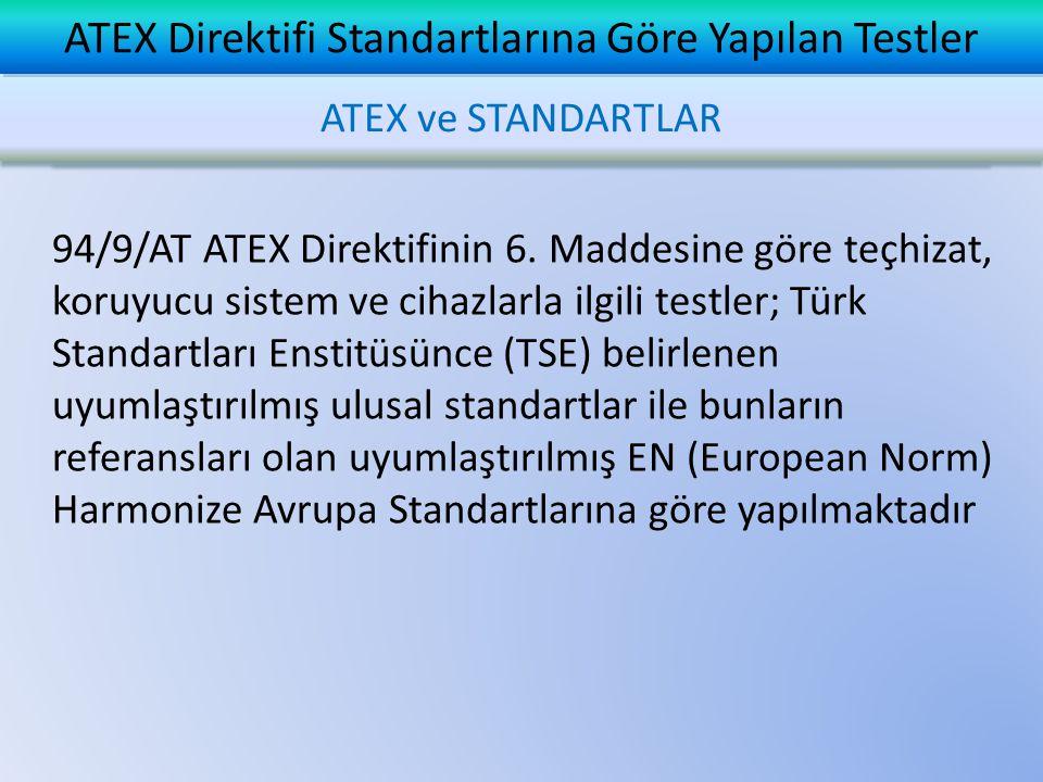  ATEX Direktifinin Ek II sinde yer alan Temel Sağlık ve Güvenlik Şartlarının (ESHR: Essential Safety and Health Requirements) gerçekleşmesi AT Tip İnceleme Sertifikasının alınması ile gerçekleşir  Harmonize Standartların kullanılması sonucunda ESHR ın yerine getirilmiş olduğu kabul edilir ve Direktife uygunluğun gerçekleşmesi sağlanmış olur  Harmonize Standartların kullanılması zorunlu değil, opsiyoneldir ATEX ve STANDARTLAR