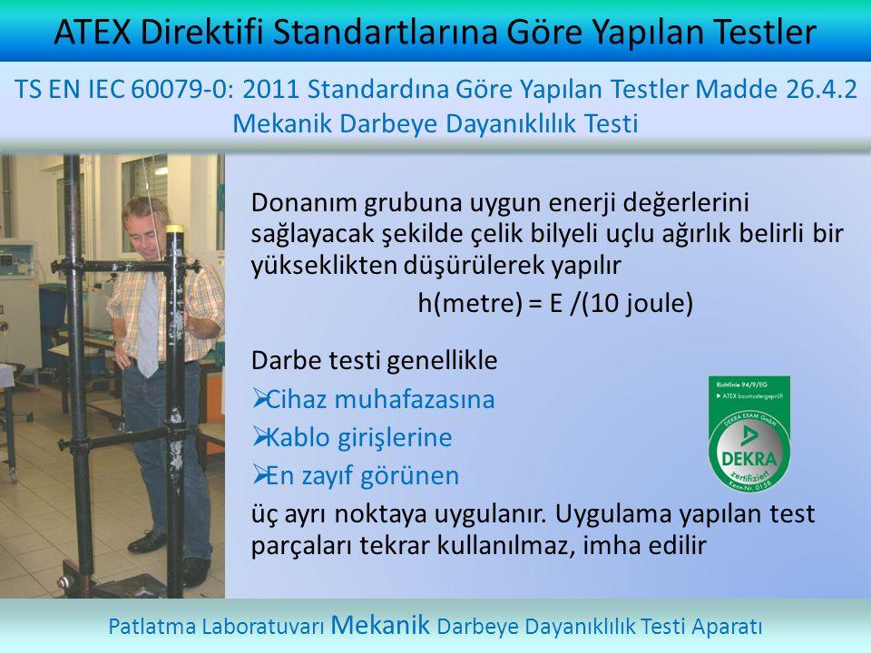 ATEX Direktifi Standartlarına Göre Yapılan Testler Patlatma Laboratuvarı Mekanik Darbeye Dayanıklılık Testi Aparatı TS EN IEC 60079-0: 2011 Standardın