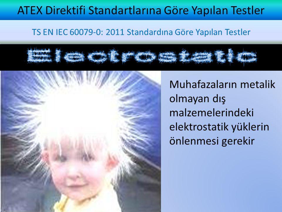 ATEX Direktifi Standartlarına Göre Yapılan Testler TS EN IEC 60079-0: 2011 Standardına Göre Yapılan Testler Muhafazaların metalik olmayan dış malzemelerindeki elektrostatik yüklerin önlenmesi gerekir