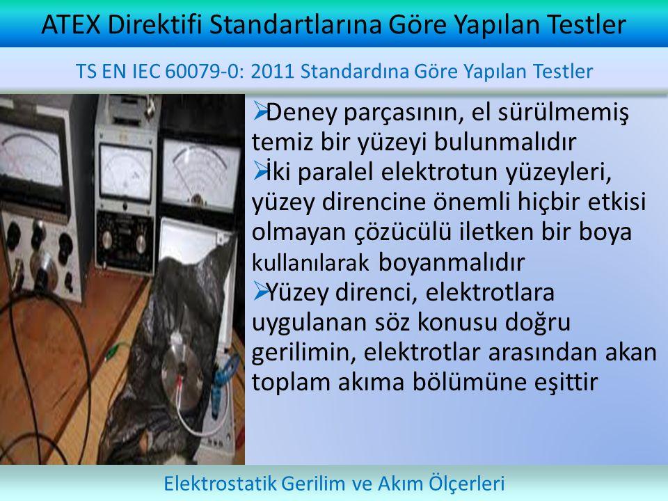  Deney parçasının, el sürülmemiş temiz bir yüzeyi bulunmalıdır  İki paralel elektrotun yüzeyleri, yüzey direncine önemli hiçbir etkisi olmayan çözücülü iletken bir boya kullanılarak boyanmalıdır  Yüzey direnci, elektrotlara uygulanan söz konusu doğru gerilimin, elektrotlar arasından akan toplam akıma bölümüne eşittir ATEX Direktifi Standartlarına Göre Yapılan Testler TS EN IEC 60079-0: 2011 Standardına Göre Yapılan Testler Elektrostatik Gerilim ve Akım Ölçerleri