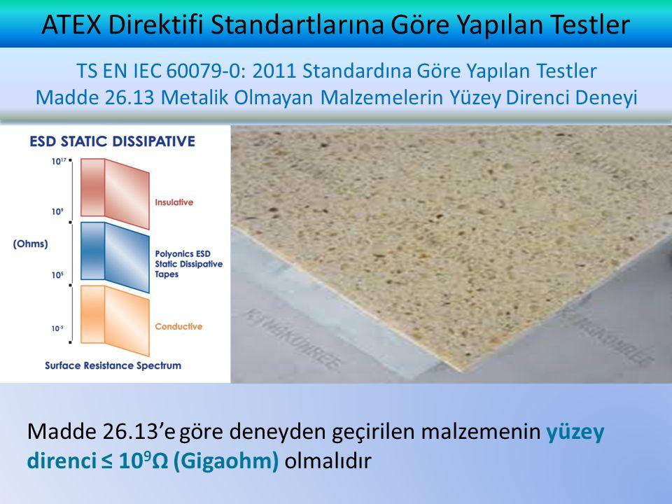 ATEX Direktifi Standartlarına Göre Yapılan Testler TS EN IEC 60079-0: 2011 Standardına Göre Yapılan Testler Madde 26.13 Metalik Olmayan Malzemelerin Yüzey Direnci Deneyi TS EN IEC 60079-0: 2011 Standardına Göre Yapılan Testler Madde 26.13 Metalik Olmayan Malzemelerin Yüzey Direnci Deneyi Madde 26.13'e göre deneyden geçirilen malzemenin yüzey direnci ≤ 10 9 Ω (Gigaohm) olmalıdır