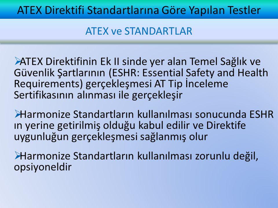 ATEX Direktifi Standartlarına Göre Yapılan Testler 35 bar basınca dayanıklı patlama kazanı Gerek patlama basıncının belirlenmesi ve gerekse bir iç tutuşmanın iletilmemesi testinde kullanılan bu patlama kazanın içine yerleştirilen test edilecek teçhizat içindeki gaz-hava karışımı, teçhizata monte edilen bir buji ile patlatılır TS EN IEC 60079-1: 2008 Standardına Göre Yapılan Testler Madde 15.2 Bir İç Tutuşmanın İletilmemesi İçin Test (Alevsızdırmazlık Testi)