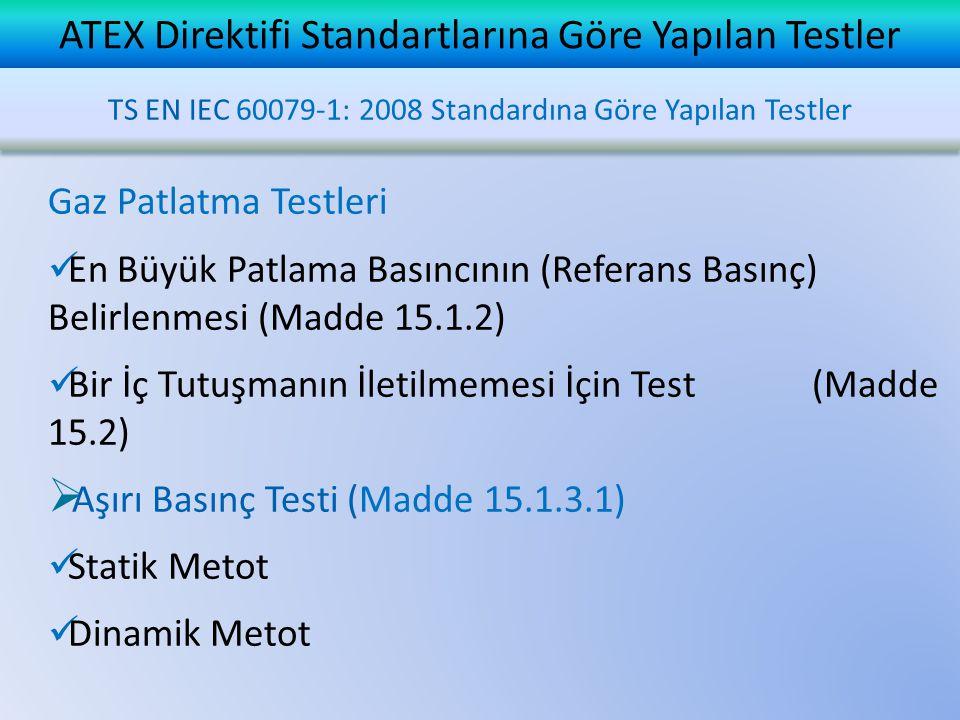ATEX Direktifi Standartlarına Göre Yapılan Testler TS EN IEC 60079-1: 2008 Standardına Göre Yapılan Testler Gaz Patlatma Testleri  En Büyük Patlama Basıncının (Referans Basınç) Belirlenmesi (Madde 15.1.2)  Bir İç Tutuşmanın İletilmemesi İçin Test (Madde 15.2)  Aşırı Basınç Testi (Madde 15.1.3.1)  Statik Metot  Dinamik Metot