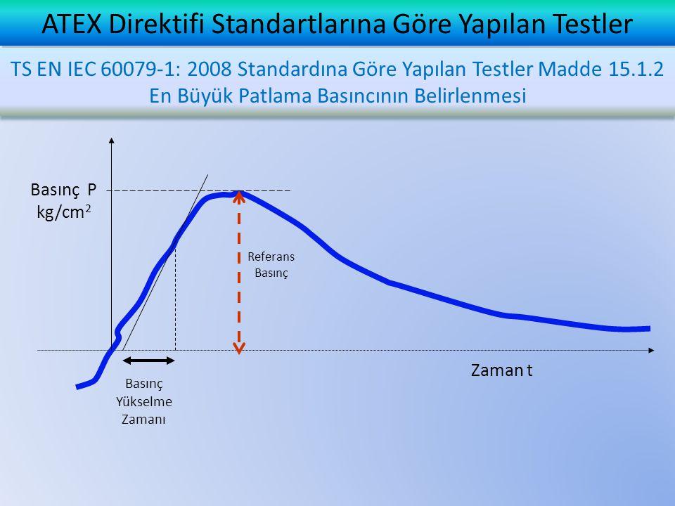 Basınç Yükselme Zamanı Basınç P kg/cm 2 Zaman t Referans Basınç ATEX Direktifi Standartlarına Göre Yapılan Testler TS EN IEC 60079-1: 2008 Standardına