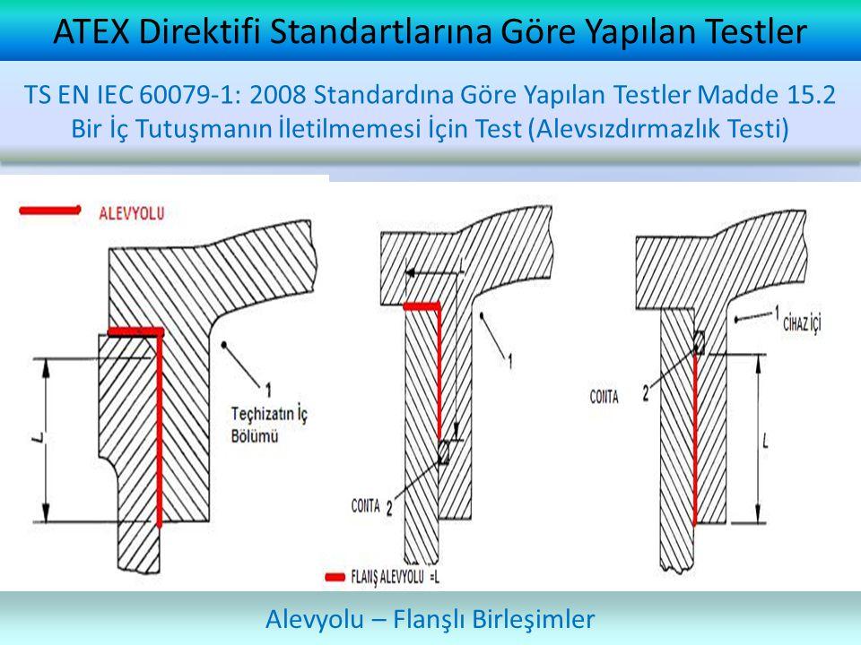ATEX Direktifi Standartlarına Göre Yapılan Testler Alevyolu – Flanşlı Birleşimler TS EN IEC 60079-1: 2008 Standardına Göre Yapılan Testler Madde 15.2 Bir İç Tutuşmanın İletilmemesi İçin Test (Alevsızdırmazlık Testi)