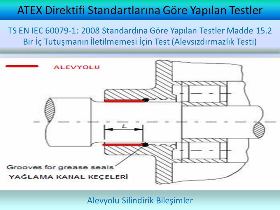 ATEX Direktifi Standartlarına Göre Yapılan Testler Alevyolu Silindirik Bileşimler TS EN IEC 60079-1: 2008 Standardına Göre Yapılan Testler Madde 15.2 Bir İç Tutuşmanın İletilmemesi İçin Test (Alevsızdırmazlık Testi)