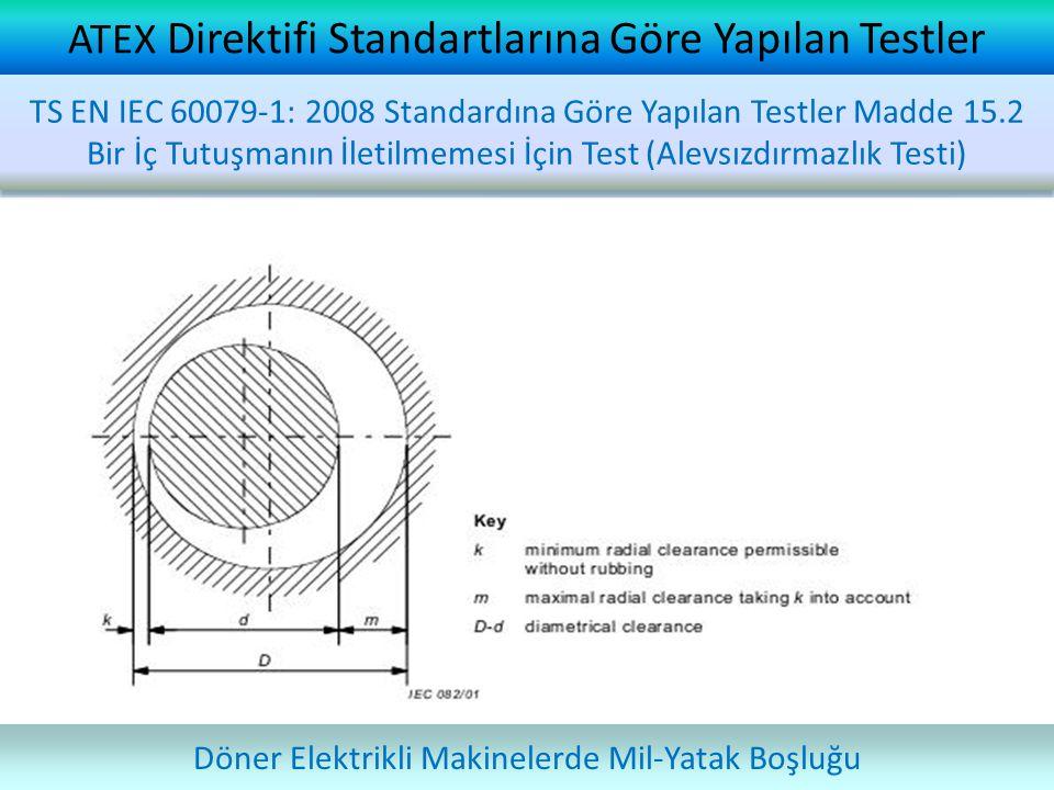 ATEX Direktifi Standartlarına Göre Yapılan Testler Döner Elektrikli Makinelerde Mil-Yatak Boşluğu TS EN IEC 60079-1: 2008 Standardına Göre Yapılan Tes