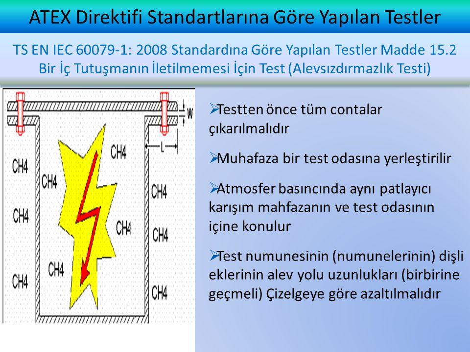 ATEX Direktifi Standartlarına Göre Yapılan Testler  Testten önce tüm contalar çıkarılmalıdır  Muhafaza bir test odasına yerleştirilir  Atmosfer bas