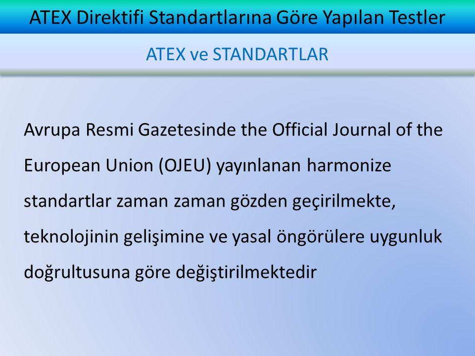 ATEX Direktifi Standartlarına Göre Yapılan Testler TS EN IEC 60079-1: 2008 Standardına Göre Yapılan Testler Madde 15.1.2 En Büyük Patlama Basıncının Belirlenmesi Yapılacak deneylerin sayısı ve atmosfer basıncında hava ile hacimsel oranda kullanılacak patlayıcı karışımlar  Grup I elektriksel donanım % (9,8 ± 0,5) metan ile üç deney  Grup IIA elektriksel donanım % (4,6 ± 0,3) propan ile üç deney  Grup IIB elektriksel donanım % (8 ± 0,5) etilen ile üç deney  Grup IIC elektriksel donanım % (14 ± 1) asetilen ile üç deney ve % (31 ± 1) hidrojen ile üç deney