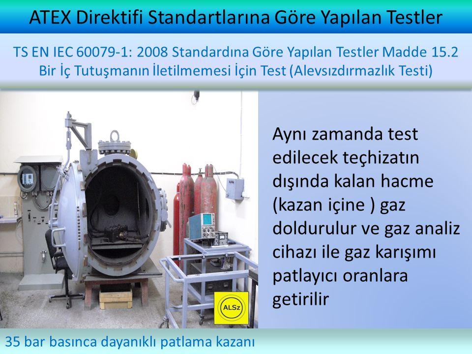ATEX Direktifi Standartlarına Göre Yapılan Testler Aynı zamanda test edilecek teçhizatın dışında kalan hacme (kazan içine ) gaz doldurulur ve gaz analiz cihazı ile gaz karışımı patlayıcı oranlara getirilir 35 bar basınca dayanıklı patlama kazanı TS EN IEC 60079-1: 2008 Standardına Göre Yapılan Testler Madde 15.2 Bir İç Tutuşmanın İletilmemesi İçin Test (Alevsızdırmazlık Testi)