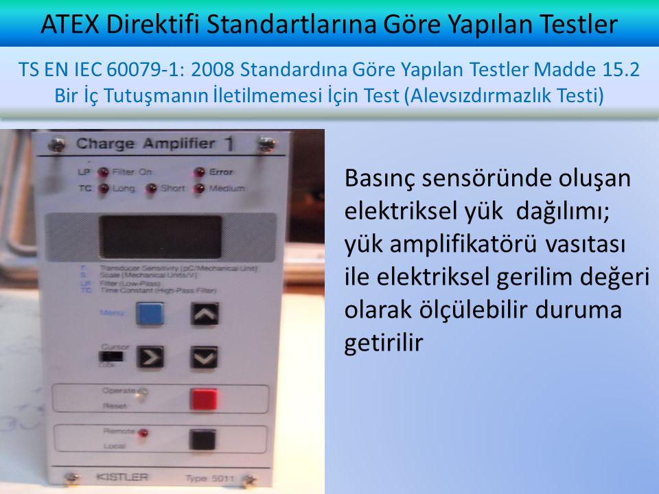ATEX Direktifi Standartlarına Göre Yapılan Testler Basınç sensöründe oluşan elektriksel yük dağılımı; yük amplifikatörü vasıtası ile elektriksel gerilim değeri olarak ölçülebilir duruma getirilir TS EN IEC 60079-1: 2008 Standardına Göre Yapılan Testler Madde 15.2 Bir İç Tutuşmanın İletilmemesi İçin Test (Alevsızdırmazlık Testi)
