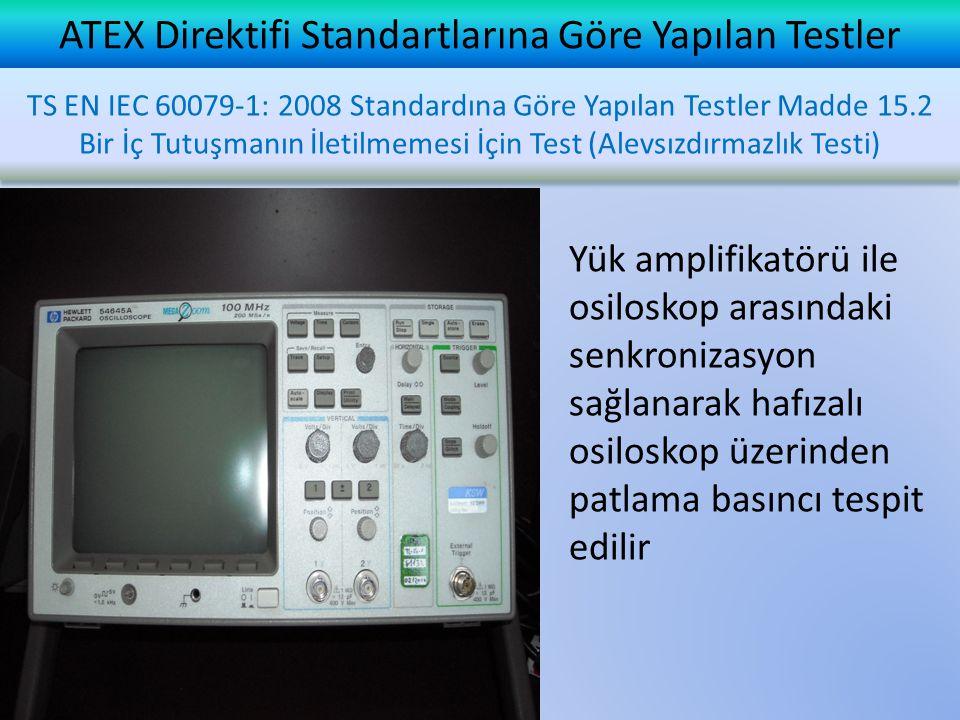 ATEX Direktifi Standartlarına Göre Yapılan Testler Yük amplifikatörü ile osiloskop arasındaki senkronizasyon sağlanarak hafızalı osiloskop üzerinden p