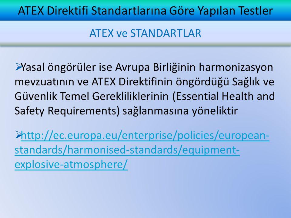 ATEX Direktifi Standartlarına Göre Yapılan Testler  Yasal öngörüler ise Avrupa Birliğinin harmonizasyon mevzuatının ve ATEX Direktifinin öngördüğü Sa