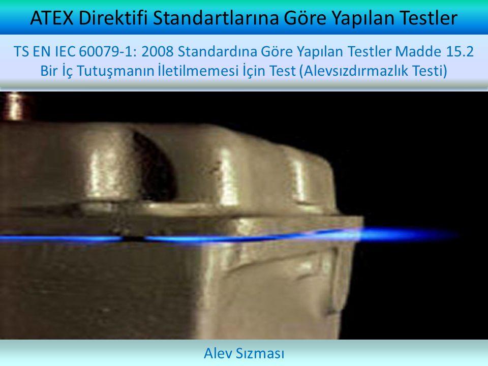 ATEX Direktifi Standartlarına Göre Yapılan Testler Alev Sızması TS EN IEC 60079-1: 2008 Standardına Göre Yapılan Testler Madde 15.2 Bir İç Tutuşmanın İletilmemesi İçin Test (Alevsızdırmazlık Testi)