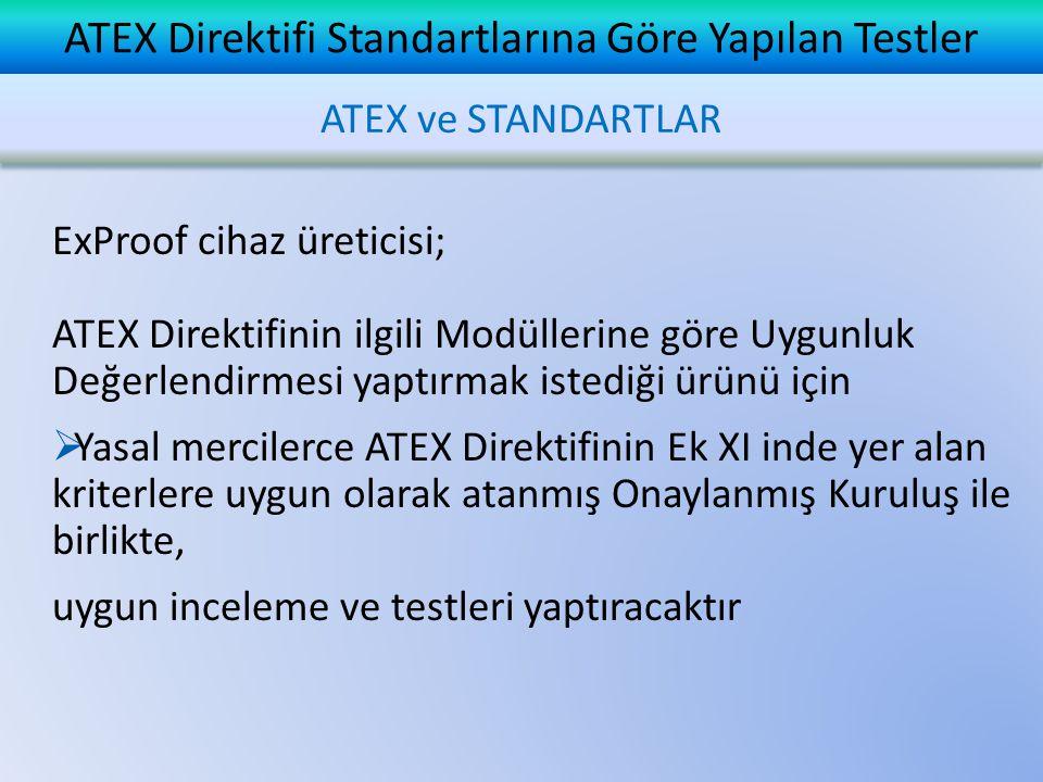 ATEX Direktifi Standartlarına Göre Yapılan Testler ATEX ve STANDARTLAR ExProof cihaz üreticisi; ATEX Direktifinin ilgili Modüllerine göre Uygunluk Değerlendirmesi yaptırmak istediği ürünü için  Yasal mercilerce ATEX Direktifinin Ek XI inde yer alan kriterlere uygun olarak atanmış Onaylanmış Kuruluş ile birlikte, uygun inceleme ve testleri yaptıracaktır