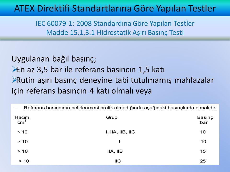 ATEX Direktifi Standartlarına Göre Yapılan Testler Uygulanan bağıl basınç;  En az 3,5 bar ile referans basıncın 1,5 katı  Rutin aşırı basınç deneyine tabi tutulmamış mahfazalar için referans basıncın 4 katı olmalı veya IEC 60079-1: 2008 Standardına Göre Yapılan Testler Madde 15.1.3.1 Hidrostatik Aşırı Basınç Testi IEC 60079-1: 2008 Standardına Göre Yapılan Testler Madde 15.1.3.1 Hidrostatik Aşırı Basınç Testi