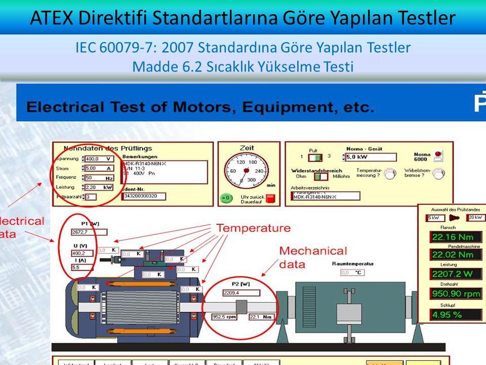 ATEX Direktifi Standartlarına Göre Yapılan Testler IEC 60079-7: 2007 Standardına Göre Yapılan Testler Madde 6.2 Sıcaklık Yükselme Testi IEC 60079-7: 2