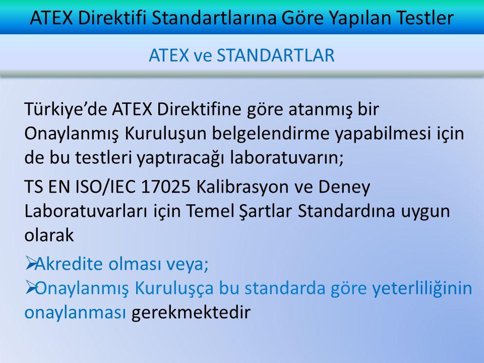 ATEX Direktifi Standartlarına Göre Yapılan Testler ATEX Direktifine göre yapılması gereken testlerin öngörüldüğü temel EN Standartları;  EN ISO 60079-0 Genel Gereklilikler  EN ISO 60079-1 Alevsızdırmaz Muhafaza  EN ISO 60079-7 Artırılmış Emniyetlilik  EN ISO 60079-11 Kendinden Emniyetlilik  EN ISO 13463 Elektrikli Olmayan Teçhizat ATEX ve STANDARTLAR