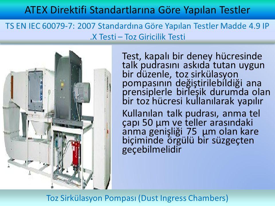 ATEX Direktifi Standartlarına Göre Yapılan Testler Test, kapalı bir deney hücresinde talk pudrasını askıda tutan uygun bir düzenle, toz sirkülasyon po