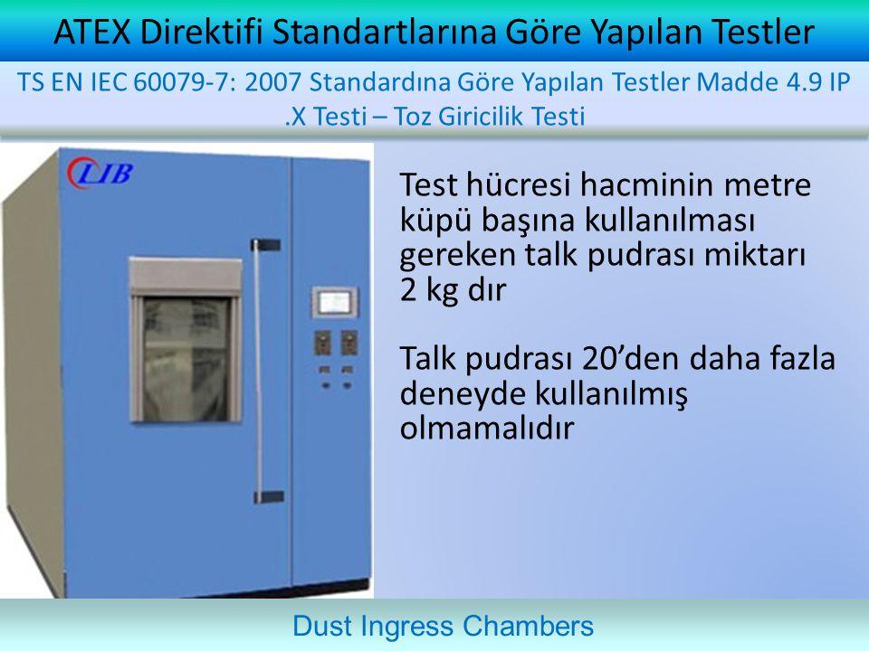 ATEX Direktifi Standartlarına Göre Yapılan Testler Test hücresi hacminin metre küpü başına kullanılması gereken talk pudrası miktarı 2 kg dır Talk pud