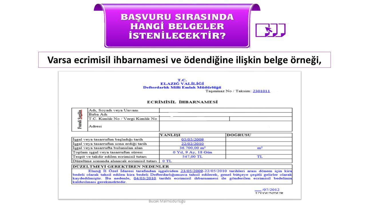 Varsa ecrimisil ihbarnamesi ve ödendiğine ilişkin belge örneği, Bucak Malmüdürlüğü