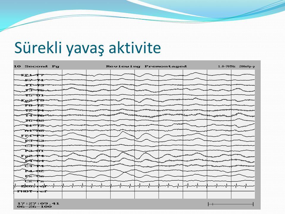 Zemin aktivitesinde yavaşlama  Zemin ritmi yaşa göre olması gereken değerin altındadır:  1 yaş: <5 Hz  4 yaş: <6 Hz  5 yaş: <7 Hz  >8yaş: <8 Hz  Yavaşlamanın uykululuk halinden kaynaklanmadığı ortaya konulmalıdır.